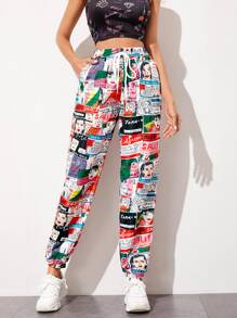 Pop Art Print Windbreaker Pants