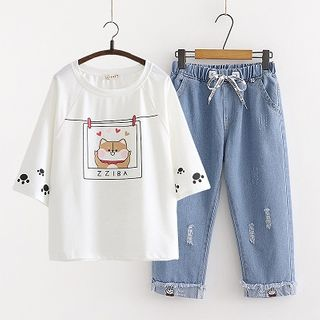 Printed Short-Sleeve T-Shirt / Drawstring Straight-Cut Jeans / Set