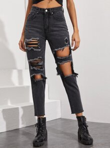 Raw Hem Ripped Mom Jeans