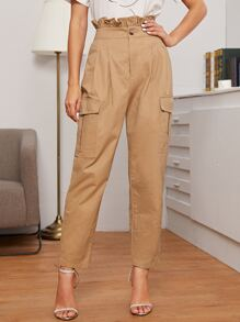 Ruffle Waist Flap Pocket Patched Side Pants