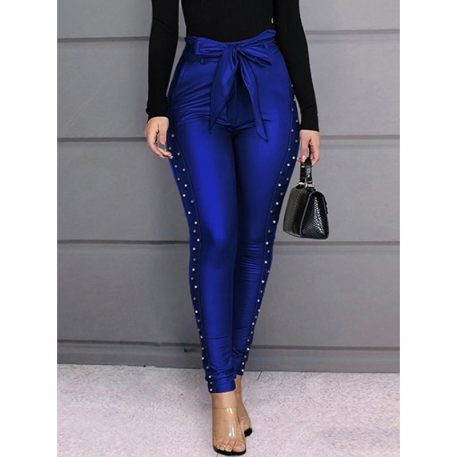 Skinny Plain Lace-Up Pencil Pants Womens Casual Pants
