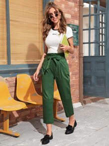 Solid Belted Paper Bag Waist Pants
