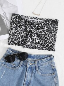 Tie Front Leopard Print Shirred Tube Top