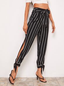 Tie Front Split Knot Hem Striped Pants