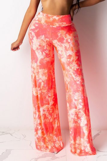 Watermelon Tie Dye Elastic High Waist Wide Casual Pants