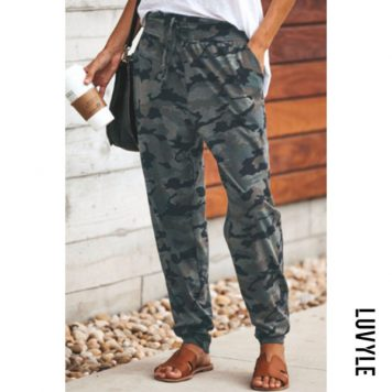 Women Camouflage Casual Long Pants