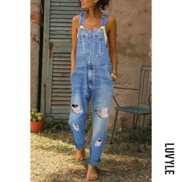 Women Casual Denim Bib Pants