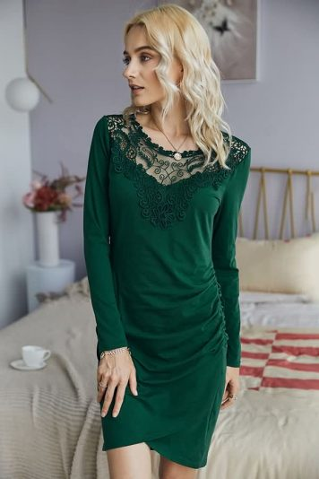 Army-green Floral Embroidery Splicing Hollow Out Front Casual Bodycon Dress