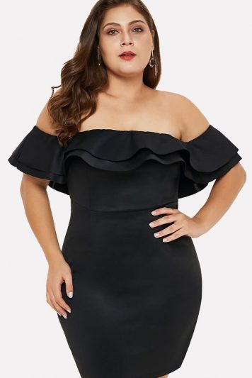 Black Off Shoulder Layered Ruffles Plus Size Sexy Bodycon Dress