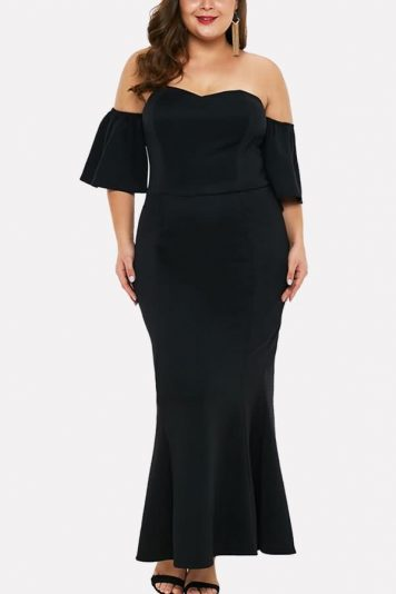 Black Off Shoulder Short Sleeve Ruffles Sexy Plus Size Bodycon Dress