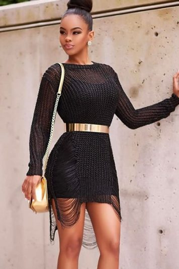Black Round Neck Hollow Out Long Sleeve Casual Bodycon Dress