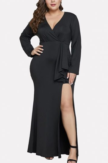 Black Tied V Neck Long Sleeve Slit Casual Maxi Plus Size Bodycon Dress