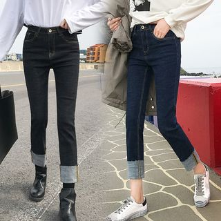 Cropped Roll-Up Straight Cut Jeans