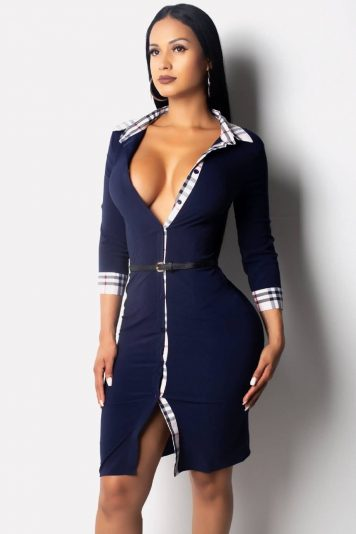 Dark-blue Plaid Button Up Lapel Casual Bodycon Dress