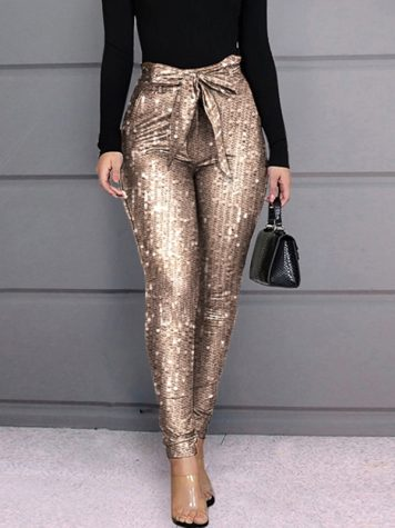 Ericdress Sequins Skinny Pencil Pants Womens Casual Pants