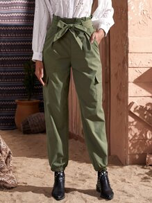 Flap Pocket Paperbag Waist Belted Cargo Pants