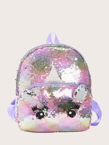 Girls Allover Sequin Decor Cartoon Design Backpack