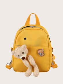 Girls Cartoon Bear Decor Backpack