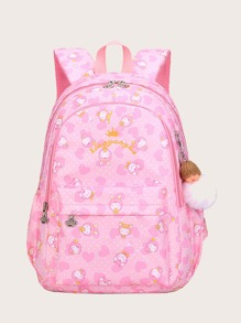 Girls Cartoon Graphic Backpack With Toy Charm
