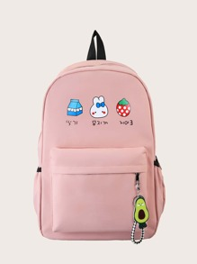 Girls Cartoon Korean Letter Graphic Backpack