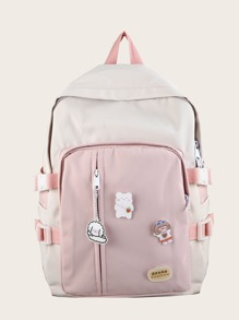 Girls Pocket Front Colorblock Backpack