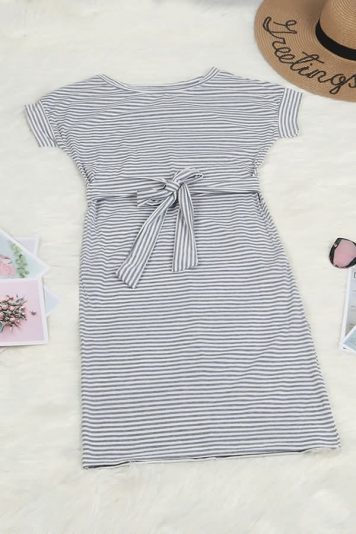 Gray Stripe Round Neck Tied Waist Casual Bodycon Dress