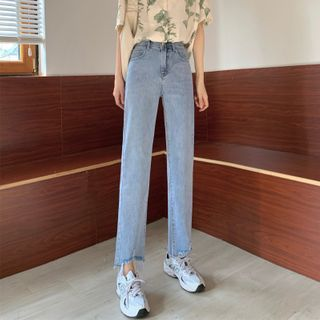 High-Waist Straight-Cut Cropped Jeans
