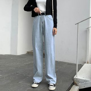 High-Waist Straight-Cut Jeans