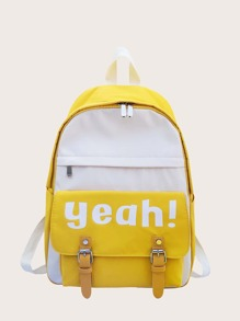 Letter Graphic Colorblock Backpack