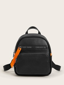 Letter Graphic Curved Top Backpack