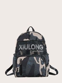 Men Pocket Front Camo Graphic Backpack