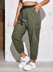 Plus Pocket Belted Cargo Pants