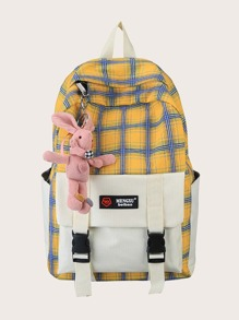 Pocket Front Plaid Backpack With Toy Charm
