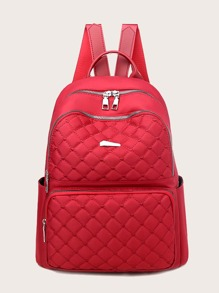 Pocket Front Quilted Curved Top Backpack