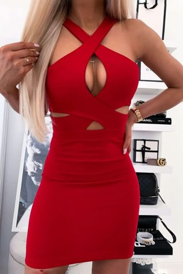 Red Straps Crisscross Cutout Sleeveless Sexy Bodycon Dress
