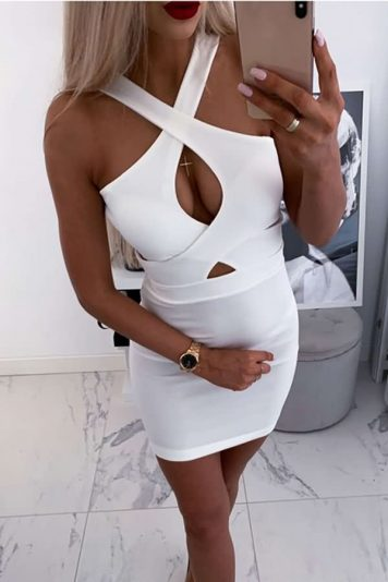 White Straps Crisscross Cutout Sleeveless Sexy Bodycon Dress