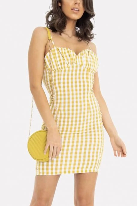 Yellow Gingham Zipper Back Spaghetti Straps Casual Bodycon Dress