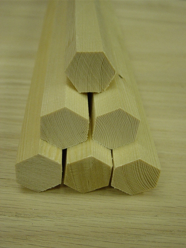 Wooden Six Sided Hexagon Dowel Rods