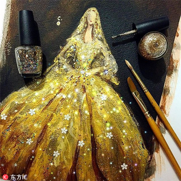 Fantasy fashion sketches made with nail polish 1   Chinadaily com cn Fantasy fashion sketches made with nail polish