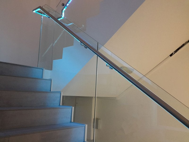 Led Glass Railing For Stairs Demax Arch   Glass Balustrade Stairs Near Me   Railing Systems   Handrails   Wood   Floating Stairs   Tempered Glass Panels