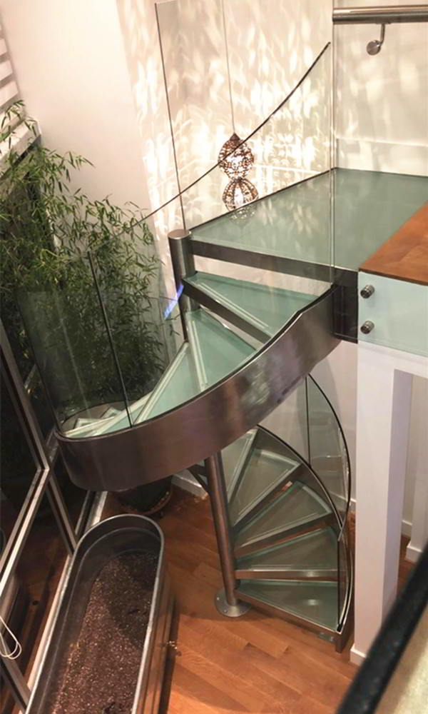 Stunning Stainless Steel Spiral Glass Staircase Demax Arch   Steel And Glass Staircase   Living   Wood   Contemporary   Old House   Glass Design Golden
