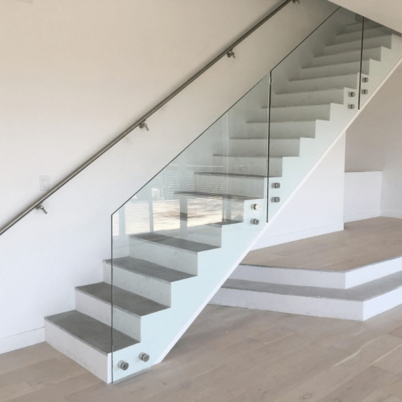 Wooden Standoff Glass Stair Railing Design | Stairs Railing Design In Glass | Indoor Home Depot | Fancy | Painting | Modern | Interior Residential Metal