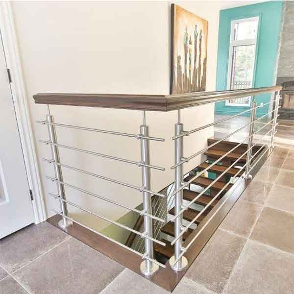 Indoor Different Design Wood Handrail With Stainless Steel Solid | Wood And Steel Handrail | Outdoor | Column | Stainless Steel | Balustrade | Ultra Modern Steel