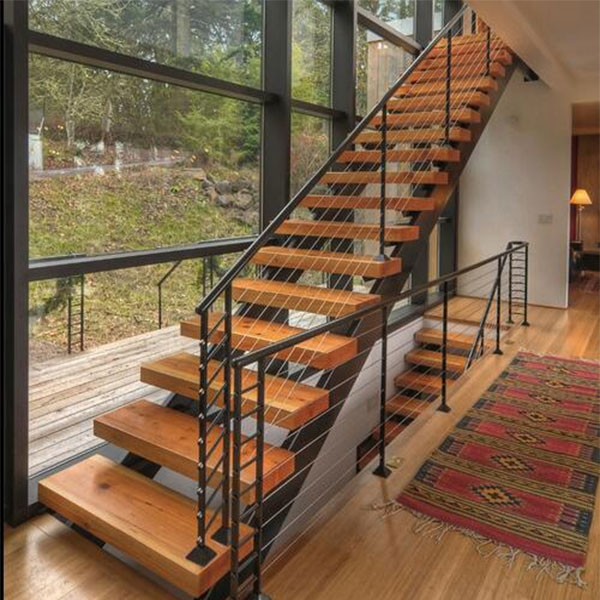 Factory Sell Steel Wood Stair Price Moderm Space Saving Straight | Staircase Design Steel And Wood | Angle Bar Stair | U Shaped Stair | Simple | Wooden Step | Open