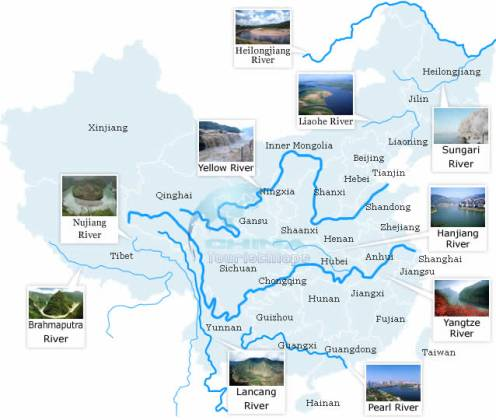Top 10 Rivers in China   Maps of Rivers in China China Top 10 Rivers map