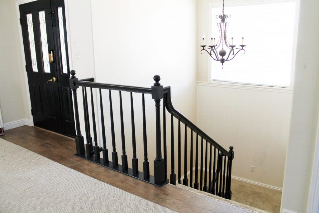 The Banister Is Painted Chris Loves Julia | Black Banister White Spindles | Black Railing | Funky | Victorian | Iron Spindle White Catwalk Brown Railing | White Mahogany Hand Rail Oak
