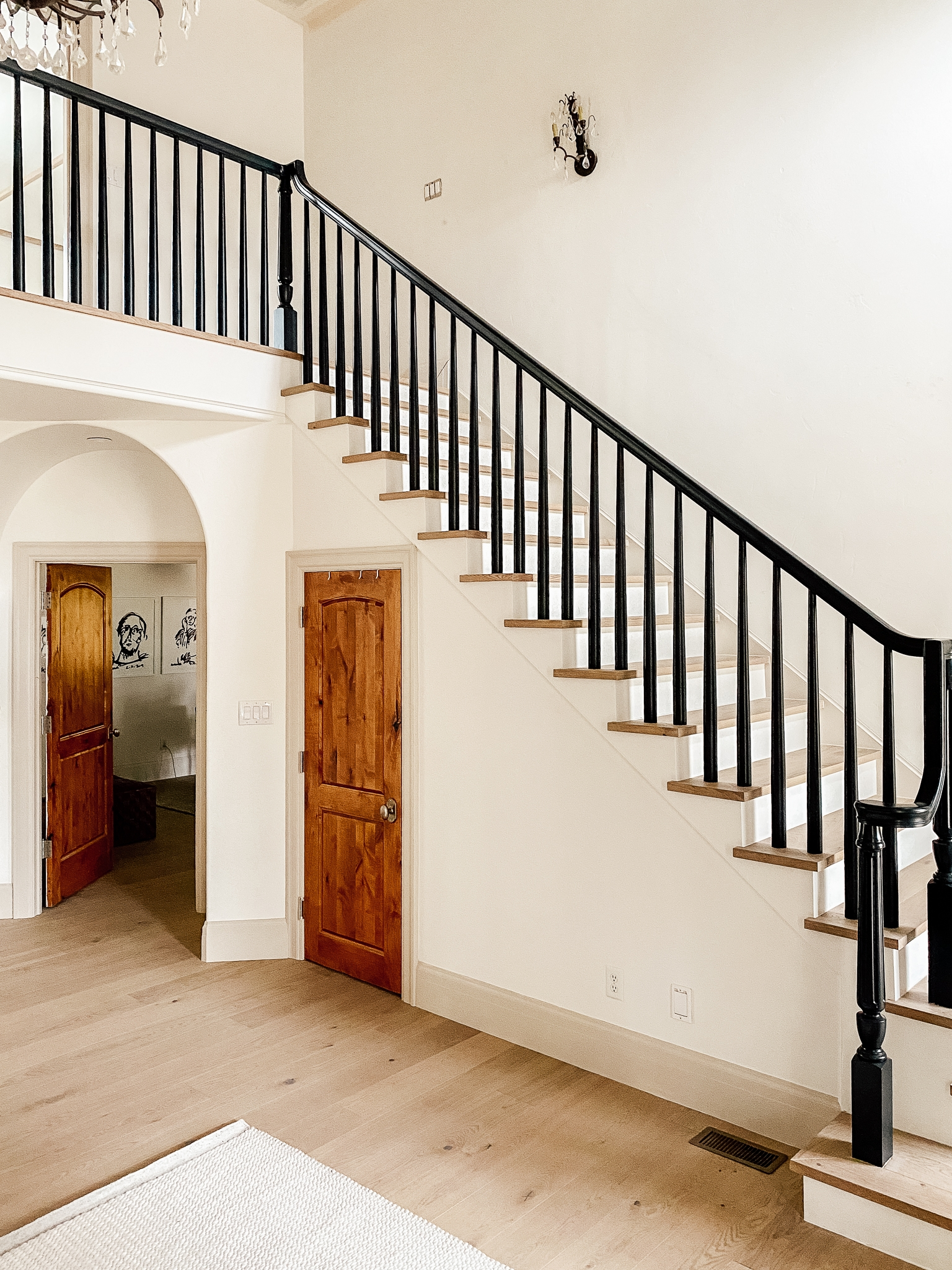 How We Completely Updated Our Stair Railings By Only Swapping Out | Wooden Banisters And Railings | Stairwell | Small | Industrial | Balcony | Dark Walnut