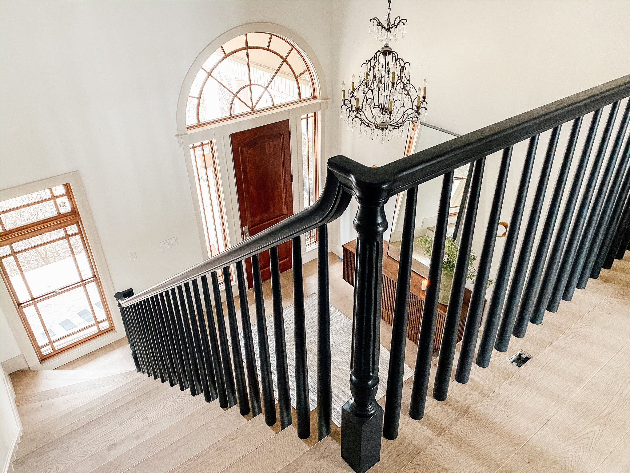How We Completely Updated Our Stair Railings By Only Swapping Out   White And Wood Banister   Stairwell   Gray White   Contemporary   Classic Wood Stair   Colonial