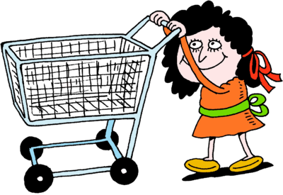 Image: Woman Pushing Empty Shopping Cart - No matter how ...