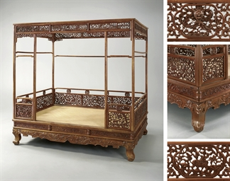 An Imperial Huanghuali Six Post Dragon Canopy Bed